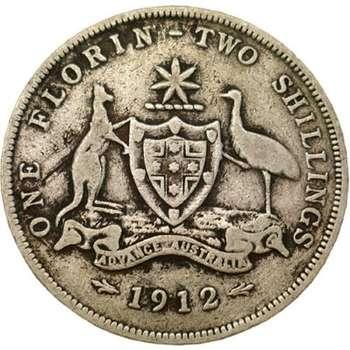 1912 Australia King George V Florin Silver Coin