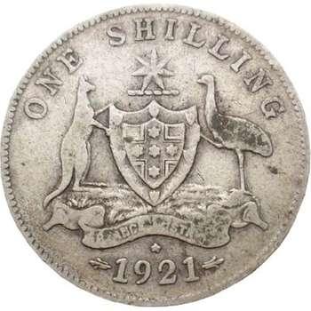 1921 Australia King George V Shilling Silver Coin