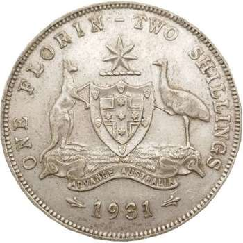 1931 Australia King George V One Florin Silver Coin