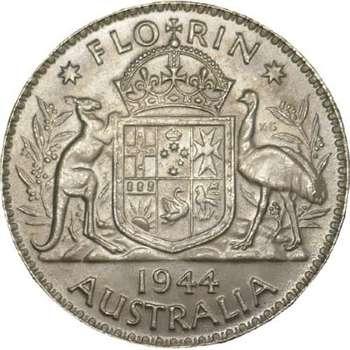 1944 Australia King George VI Florin Silver Coin