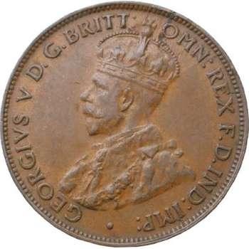 1927 Australia King George V One Half Penny Copper Coin
