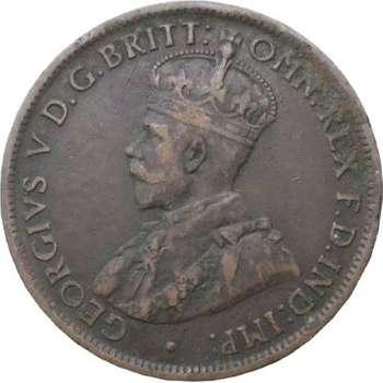 1914 H Australia King George V Half Penny Copper Coin