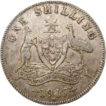 1917 M Australia King George V Shilling Silver Coin