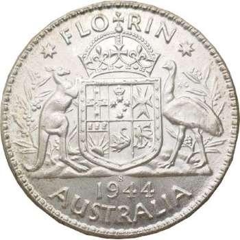 1944 S Australia King George VI Florin Silver Coin