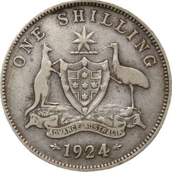 1924 Australia King George V One Shilling Silver Coin