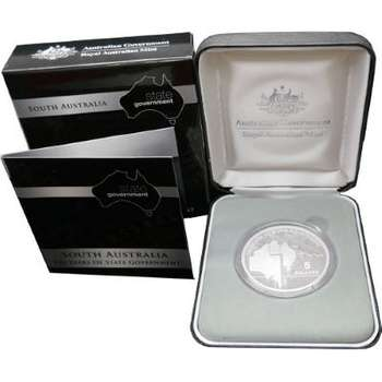 2007 Australia 150 Years of South Australia State Government Five Dollars Silver Proof Coin