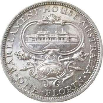 1927 Australia Canberra King George V Florin Silver Coin
