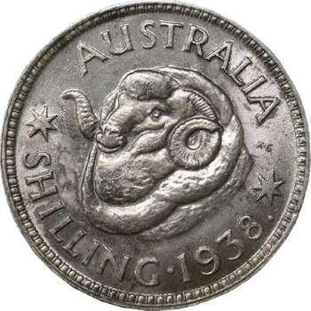 1938 Australia King George VI Shilling Silver Coin
