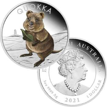 1 oz 2021 Quokka Silver Proof Coloured Coin