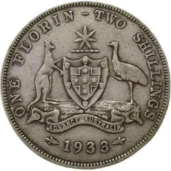 1933 Australia King George V Florin Silver Coin