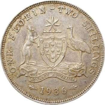 1936 Australia King George V Florin Silver Coin