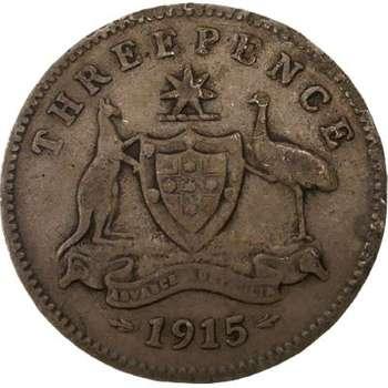 1915 Australia King George V Threepence Silver Coin