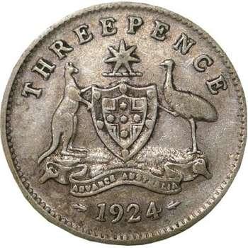 1924 Australia King George V Threepence Silver Coin