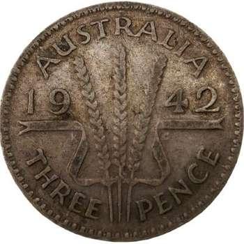 1942 Australia King George VI Threepence Silver Coin