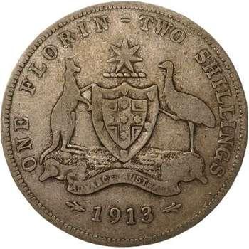 1913 Australia King George V Florin Silver Coin