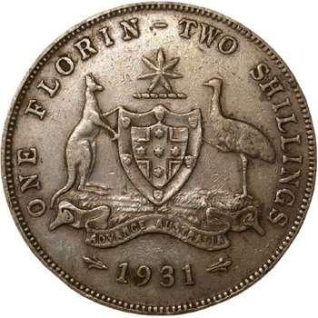 1931 Australia King George V Florin Silver Coin