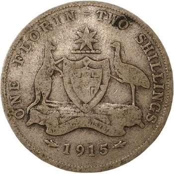 1915 Australia King George V Florin Silver Coin