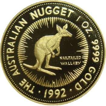 1 oz 1992 The Australian Kangaroo Gold Bullion Coin (Proof Strike with Nail-tailed Wallaby)