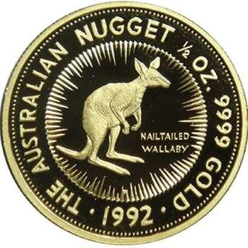 1/2 oz 1992 The Australian Kangaroo Gold Bullion Coin (Proof Strike with Nail-tailed Wallaby)