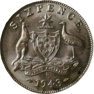 1943 D Australia King George VI Sixpence Silver Coin