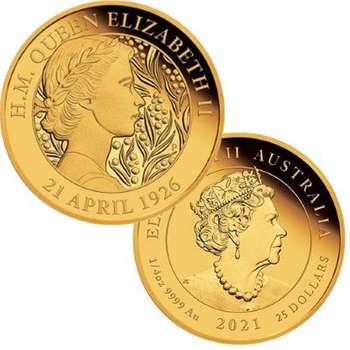 1/4 oz 2021 Australian Queen Elizabeth II 95th Birthday Gold Proof Coin