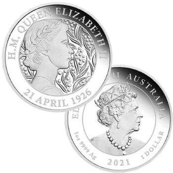 1 oz 2021 Australian Queen Elizabeth II 95th Birthday Silver Proof Coin