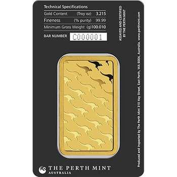 100 g Perth Mint Gold Bullion Minted Bar
