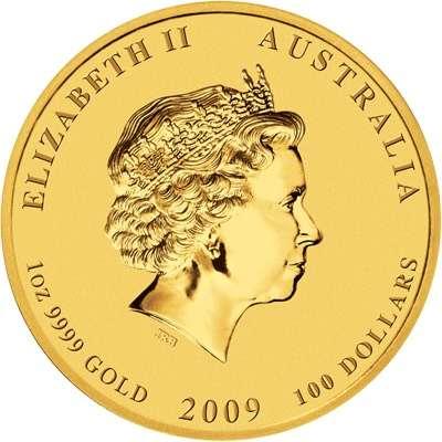 1 oz 2009 Australian Lunar Year of the Ox Gold Bullion Coin